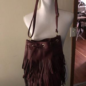 Handbags - Cute burgundy bucket bag with fringe